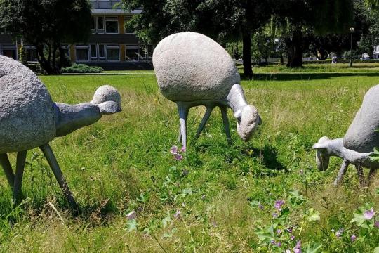 OWIECZKI, 1968, granit, aluminium, Kraków, Uniwersytet Rolniczy